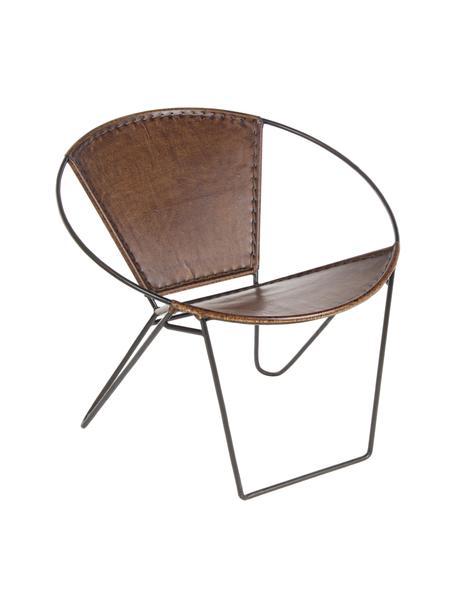 Sillón de cuero Sanpark, Asiento: cuero, Estructura: metal, Marrón, negro, An 80 x F 57 cm