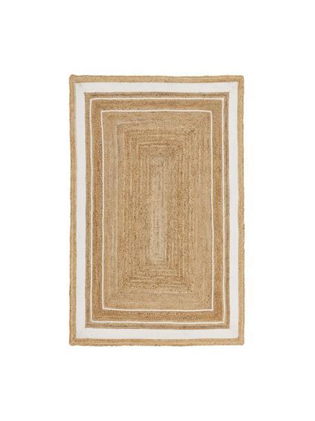 Alfombra artesanal de yute Clover, 100%yute, Beige, blanco, An 120 x L 180 cm (Tamaño S)