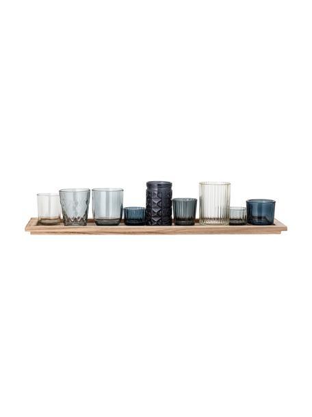 Set de portavelas de vidrio Elvie, 10pzas., Portavelas: vidrio, Bandeja: madera de Paulownia, Tonos azules transparente, An 56 x Al 11 cm