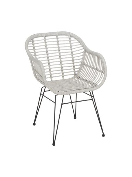 Polyrattan-Armlehnstühle Costa, 2 Stück, Sitzfläche: Polyethylen-Geflecht, Gestell: Metall, pulverbeschichtet, Hellgrau, Beine Schwarz, B 59 x T 58 cm