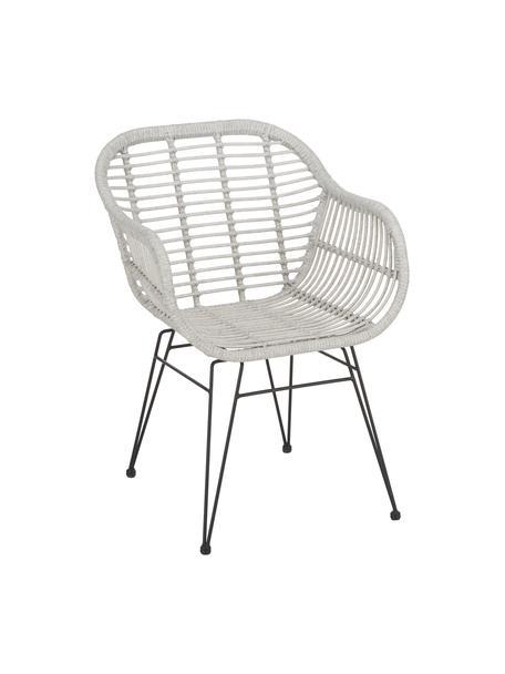 Sedia intrecciata  con braccioli Costa 2 pz, Seduta: treccia di polietilene, Struttura: metallo verniciato a polv, Seduta: grigio chiaro, macchiato Struttura: nero opaco, Larg. 59 x Alt. 58 cm