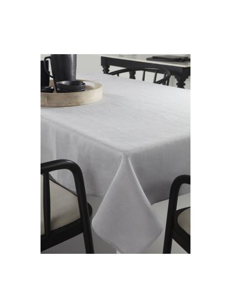 Linnen tafelkleed Heddie in lichtgrijs, 100% linnen, Lichtgrijs, Voor 4 - 6 personen (B 145 x L 200 cm)