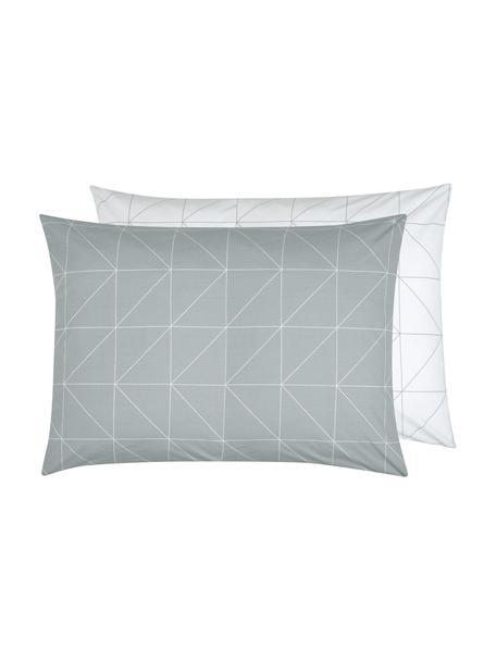 Funda de almohada de algodón Marla, 50x70cm, Verde salvia, blanco crema, An 50 x L 70 cm