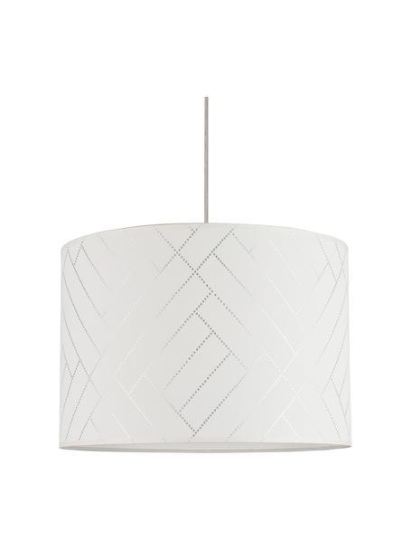 Ronde hanglamp Punto met visgraatpatroon, Lampenkap: papier, Baldakijn: eikenhout, geolied, Wit, zilverkleurig, Ø 40 x H 24 cm