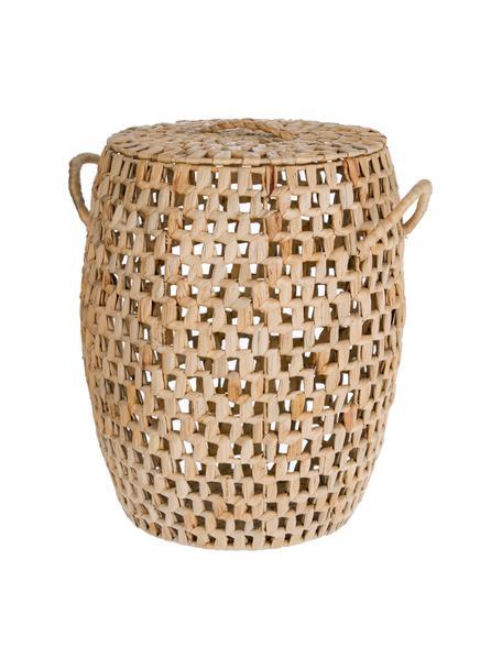Handgefertigter Wäschekorb Zaya aus Wasserhyazinthe mit Griffen, Wasserhyazinthe, Braun, Ø 35 x H 55 cm