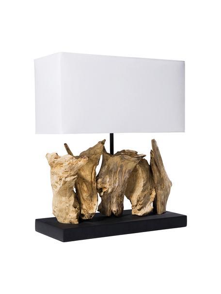 Design Tischlampe Nature aus Treibholz, Lampenschirm: Baumwolle, Sockel: Spanplatte, gebeizt und l, Weiss, Braun, 35 x 43 cm