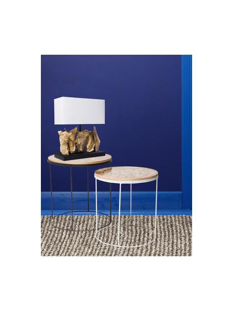 Lámpara de mesa de madera de diseño Nature, Pantalla: algodón, Base de la lámpara: madera de deriva, Blanco, marrón, An 35 x Al 43 cm