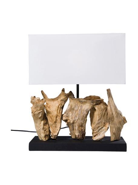 Design tafellamp Nature van drijfhout, Lampenkap: katoen, Lampvoet: drijfhout, Voetstuk: spaanplaat, gebeitst en g, Wit, bruin, 35 x 43 cm