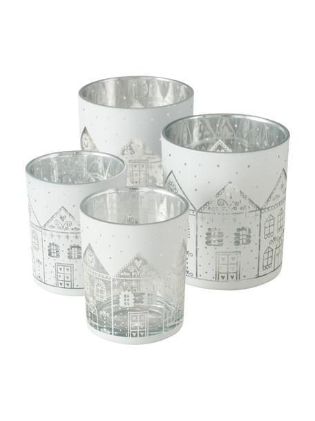 Komplet świeczników na podgrzewacze Villana, 4 elem., Szkło, Biały, odcienie srebrnego, Komplet z różnymi rozmiarami