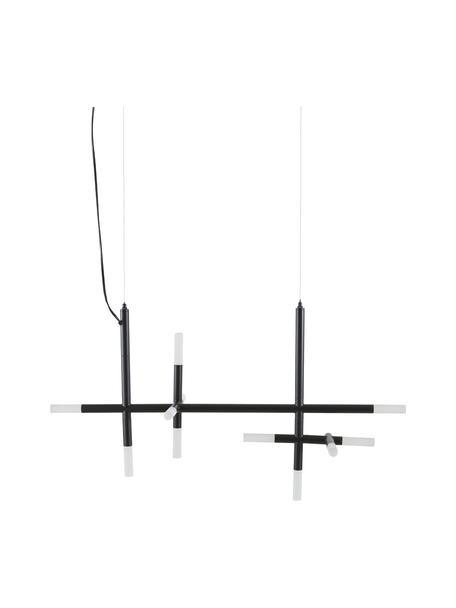 Grote LED hanglamp Gratia in zwart, Baldakijn: gegalvaniseerd metaal, Zwart, 90 x 90 cm