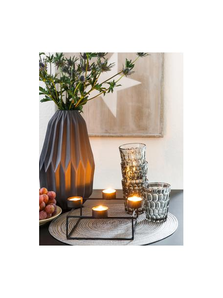 Vasos resistentes con relieve Optic, 6uds., Vidrio, Gris transparente, Ø 9 x Al 11 cm