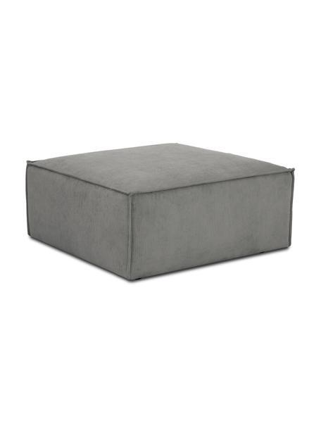 Poggiapiedi da divano in velluto a coste grigio Lennon, Rivestimento: velluto a coste (92% poli, Struttura: legno di pino massiccio, , Piedini: plastica I piedini si tro, Velluto a coste grigio, Larg. 88 x Alt. 43 cm