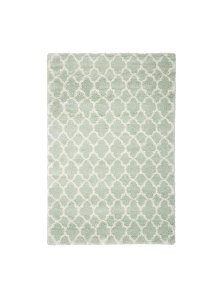 Tappeto a pelo lungo verde menta/bianco crema Mona, Retro: 78% juta, 14% cotone, 8% , Verde menta, bianco crema, Larg. 120 x Lung. 180 cm (taglia S)