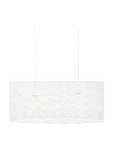 Ovale hanglamp Glicine in wit, Lampenkap: gecoat metaal, Baldakijn: gecoat metaal, Wit, 70 x 28 cm