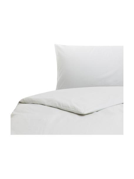 Parure copripiumino in cotone effetto stone washed Velle, Tessuto: cotone ranforce, Fronte e retro: bianco perla, 155 x 200 cm
