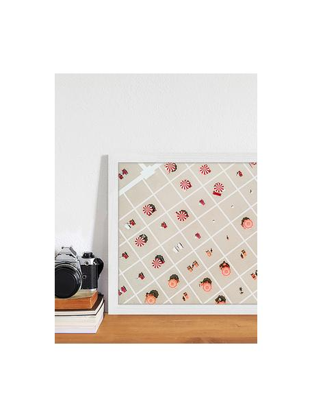 Ingelijste digitale print Squared Beach, Afbeelding: digitale print op papier,, Lijst: gelakt hout, Multicolour, 43 x 33 cm