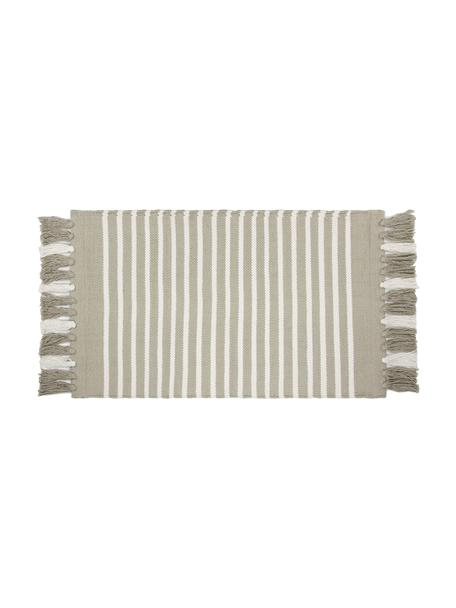 Gestreepte badmat Stripes & Structure met franjes, 100% katoen, Beige, gebroken wit, 60 x 100 cm