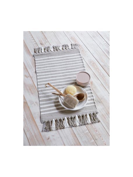 Tappeto bagno con frange Stripes & Structure, 100% cotone, Beige, bianco latteo, Larg. 60 x Lung. 100 cm