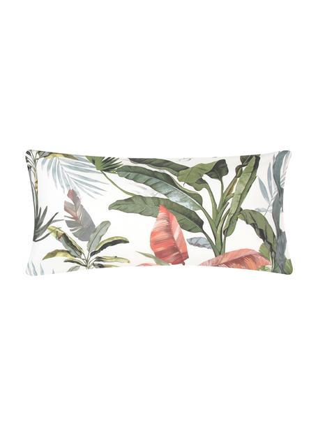 Baumwollperkal-Kopfkissenbezüge Tropicana mit tropischem Print, 2 Stück, Webart: Perkal Fadendichte 200 TC, Vorderseite: MehrfarbigRückseite: Cremeweiss, 40 x 80 cm