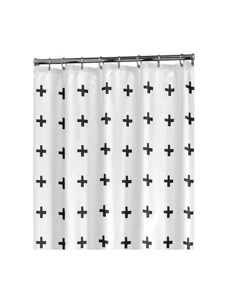 Douchegordijn met patroon Kenzie, Oogjes: metaal, Wit, zwart, 180 x 200 cm