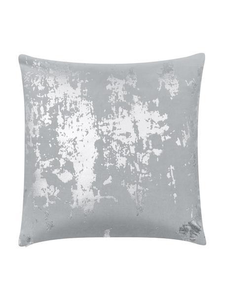 Funda de cojín de terciopeloShiny, estilo vintage, 100%terciopelo de algodón, Gris claro, plateado, An 40 x L 40 cm