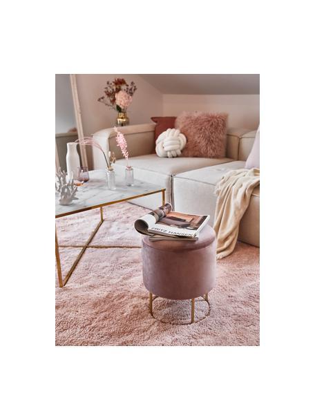 Fluwelen kruk Polina met opbergruimte, Bekleding: polyester fluweel, Frame: gelakt metaal, Roze, messingkleurig, Ø 35 x H 45 cm