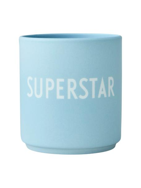 Design beker Favourite SUPERSTAR in blauw met opschrift, Beenderporselein (porselein) Fine Bone China is een zacht porselein, dat zich vooral onderscheidt door zijn briljante, doorschijnende glans., Mat lichtblauw, wit, Ø 8 x 9 cm