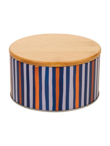 Caja decorativa Canny, Caja: metal, Tapa: bambú, Beige, dorado, azul, blanco, Ø 14 x Al 8 cm