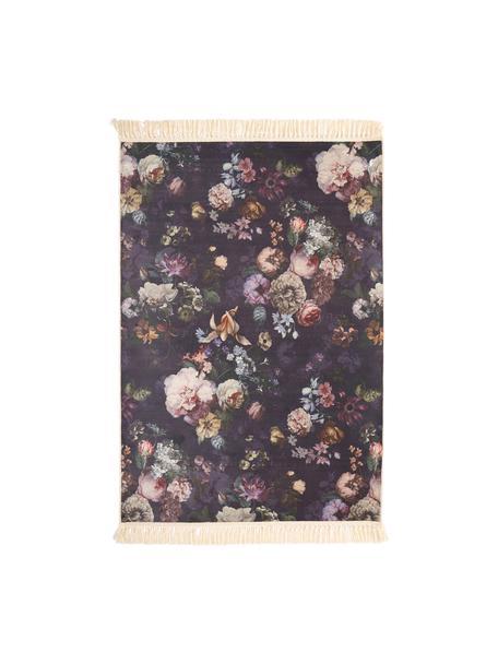 Vloerkleed Fleur met bloemmotief en franjes, 100% polyester, Nachtblauw, 120 x 180 cm
