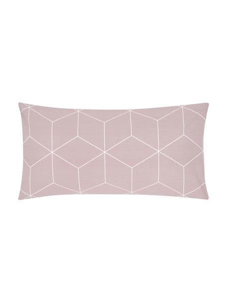 Baumwoll-Kissenbezüge Lynn mit grafischem Muster, 2 Stück, Webart: Renforcé Fadendichte 144 , Altrosa, Cremeweiß, 40 x 80 cm