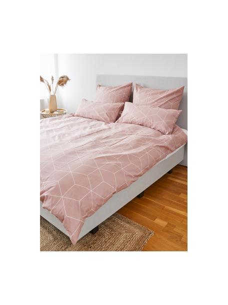 Poszewka na poduszkę z bawełny Lynn, 2 szt., Brudny różowy, kremowobiały, S 40 x D 80 cm