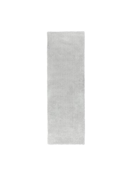 Pluizige hoogpolige loper Leighton in lichtgrijs, Bovenzijde: microvezels (100% polyest, Onderzijde: 70% polyester, 30% katoen, Lichtgrijs, 80 x 250 cm