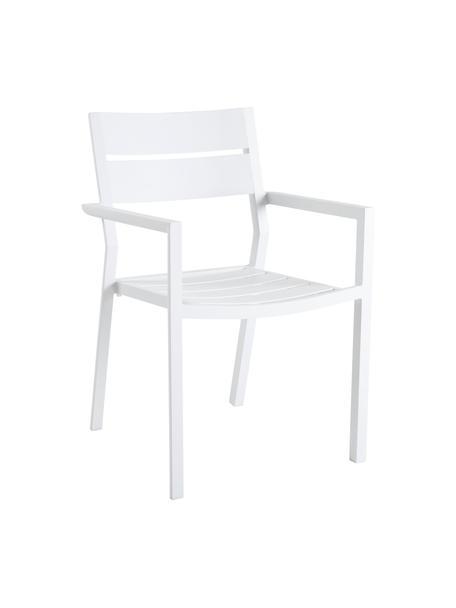 Silla apilable para exterior Delia, Aluminio con pintura en polvo, Blanco, An 55 x F 55 cm