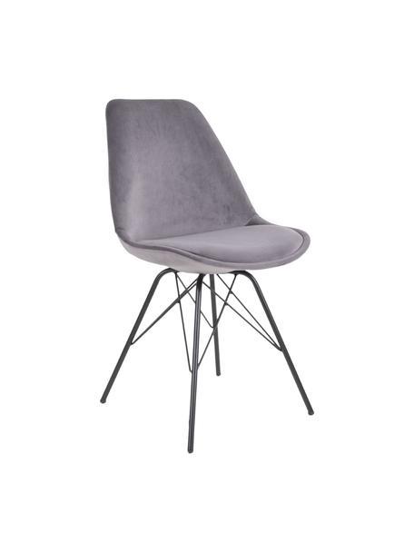Krzesło tapicerowane z aksamitu Oslo, 2 szt., Tapicerka: aksamit poliestrowy, Nogi: metal powlekany, Szary, S 48 x G 55 cm