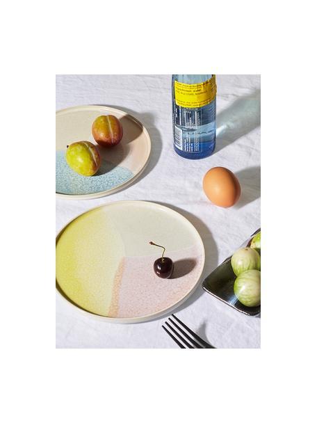 Handgemaakte ontbijtborden Gallery, 2 stuks, Keramiek, Roze, geel, Ø 19 cm