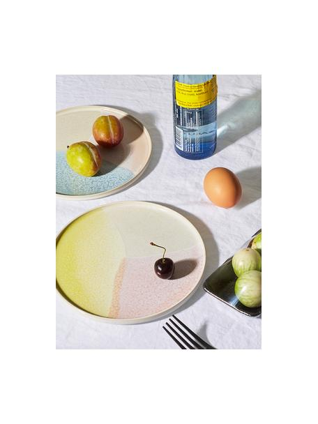 Handgemachte Colorblocking Frühstücksteller Gallery, 2 Stück, Steingut, Rosa, Gelb, Ø 19 cm