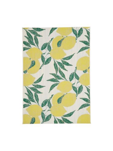 Tappeto da interno-esterno con stampa limoni Limonia, 86% polipropilene, 14% poliestere, Bianco crema, giallo, verde, Larg. 120 x Lung. 170 cm (taglia S)