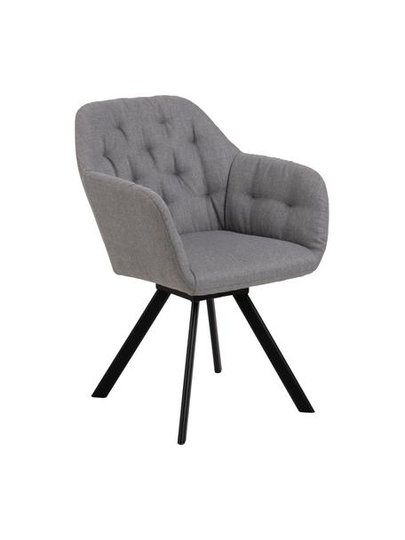 Krzesło z podłokietnikami Lucie, obrotowe, Tapicerka: poliester, Nogi: metal lakierowany, Jasny szary, czarny, S 58 x G 62 cm