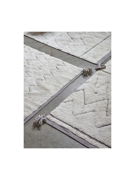 Alfombra lavable de agodón con borlas Azteca, Parte superior: 97%algodón, 3%fibras mi, Reverso: fibras recicladas, Beige, An 90 x L 130 cm (Tamaño XS)
