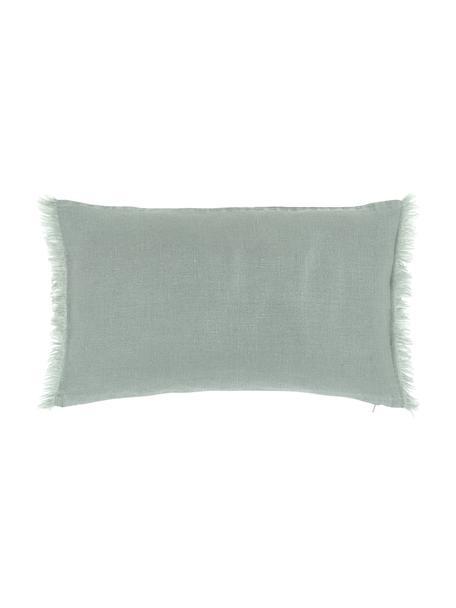 Federa arredo in lino verde salvia con frange Luana, 100% lino, Verde salvia, Larg. 30 x Lung. 50 cm