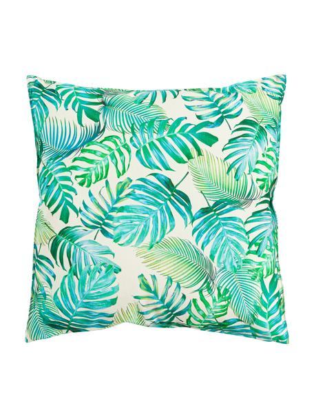 Outdoor kussen Madeira met bladpatroon, met vulling, 100% polyester, Gebroken wit, blauwtinten, groentinten, 45 x 45 cm