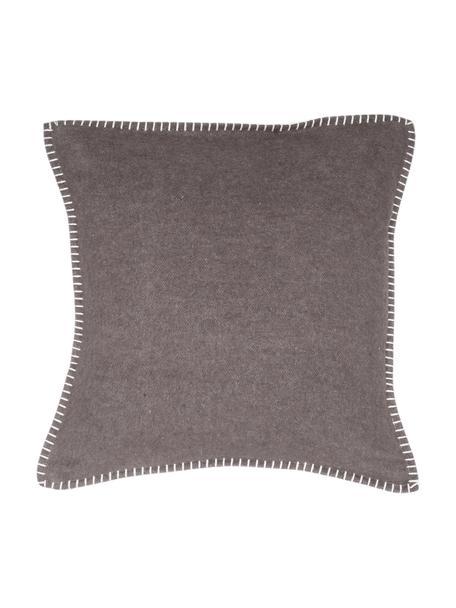 Funda de cojín de tela polar Sylt, 85%algodón, 8%viscosa, 7%poliacrílico, Marrón oscuro, An 40 x L 40 cm