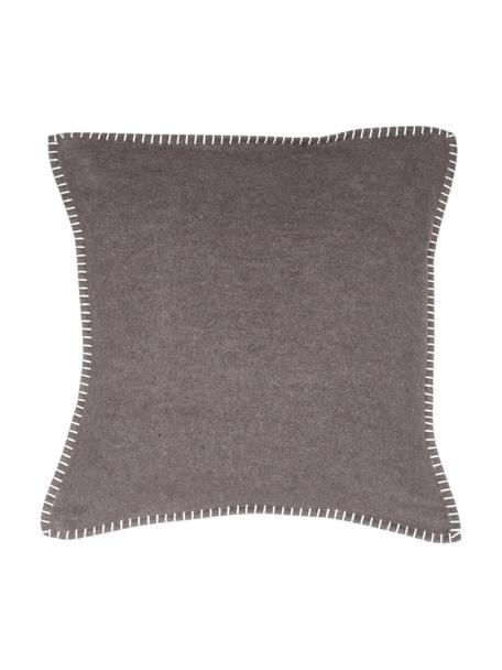 Zachte fleece kussenhoes Sylt met stiksels, 85% katoen, 8% viscose, 7% polyacryl, Donkerbruin, 40 x 40 cm