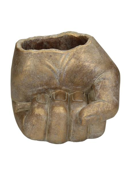 Portavaso Hand, Cemento, Dorato, Larg. 13 x Alt. 15 cm