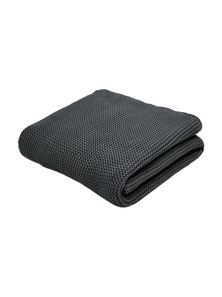 Manta de punto de algodón ecológico Adalyn, 100%algodón ecológico, certificado GOTS, Gris oscuro, An 150 x L 200 cm