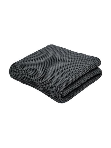 Plaid fatto a maglia in cotone biologico grigio scuro Adalyn, 100% cotone biologico, certificato GOTS, Grigio scuro, Larg. 150 x Lung. 200 cm