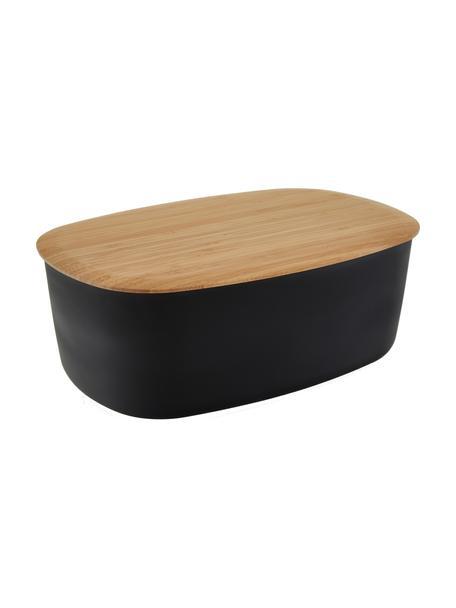Portapane con coperchio in bambù Box-It, Contenitore: melamina, Coperchio: bambù, Contenitore: nero Coperchio: marrone, Larg. 35 x Alt. 12 cm