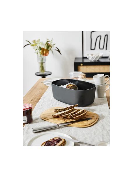 Design broodtrommel Box-It in zwart met bamboe deksel, Deksel: bamboe, Pot: zwart. Deksel: bruin, 35 x 12 cm
