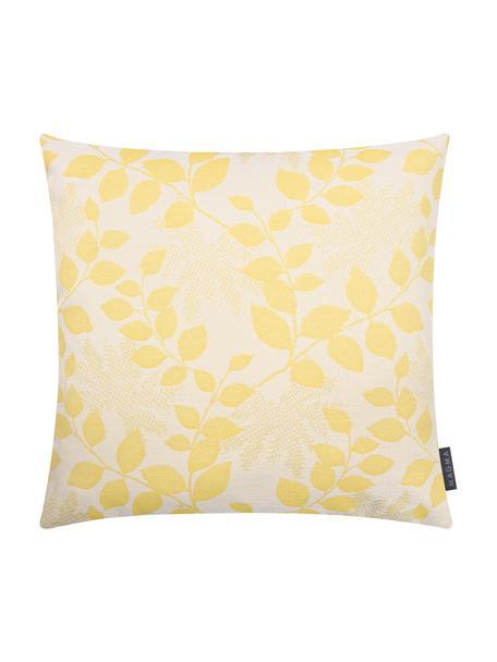 Outdoor kussenhoes Cruz met bladpatroon in geel, 100% Dralon (polyacryl), Geel, beige, 50 x 50 cm