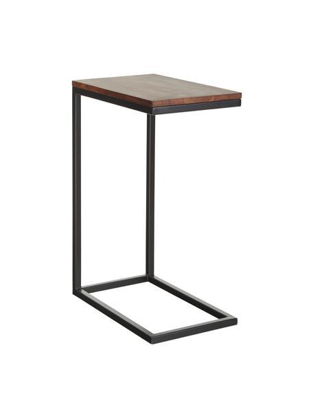 Tavolino in legno di acacia Celow, Piano d'appoggio: legno di acacia massiccio, Struttura: metallo verniciato a polv, Nero, Larg. 45 x Alt. 62 cm